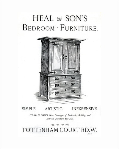 An advertisement for Heal and Son's bedroom furniture by Anonymous