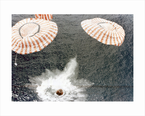 The Apollo 15 capsule lands safely despite a parachute failure, Mid-Pacific Ocean by NASA
