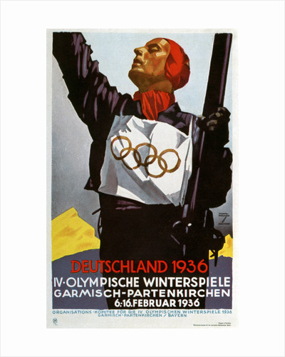 Poster for the 1936 Winter Olympic Games in Garmisch-Partenkirchen, Germany by Ludwig Hohlwein