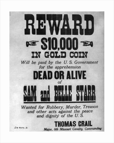 Wanted poster for the outlaws Sam and Belle Starr by Anonymous
