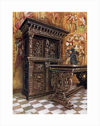 Carved oak armoire by Edwin Foley