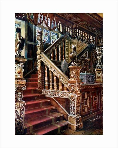 Carved oaken stairway, Godinton by Edwin Foley