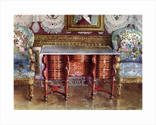 Kneehole writing table and gilt fauteuils by Edwin Foley