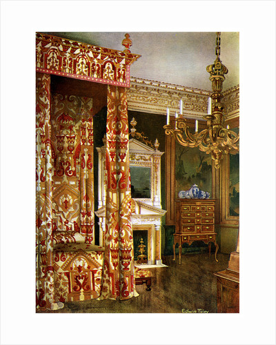 Queen Anne's bed, chest of drawers upon a stand and a wooden candelabra by Edwin Foley