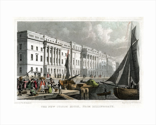 The new Custom House, from Billingsgate, City of London by William Tombleson