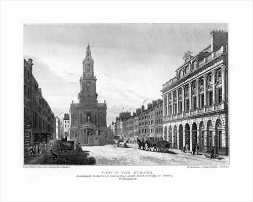 View of the Strand, Westminster, London by H le Keux