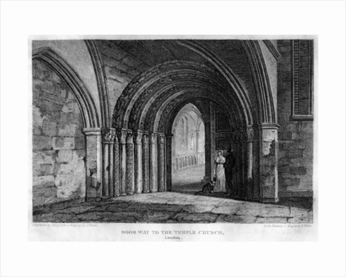 Doorway to the Temple Church, London by J Shury