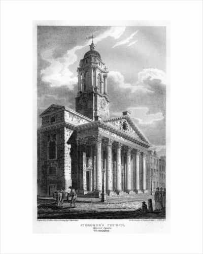 St George's Church, Hanover Square, Westminster, London by John Le Keux