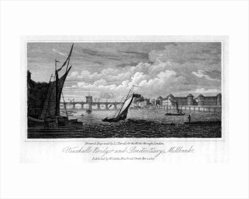 Vauxhall Bridge and Millbank Penitentiary, Westminster, London by JC Varrall