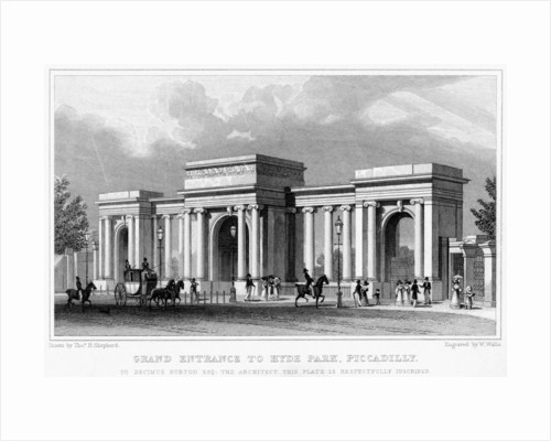Grand entrance to Hyde Park, Piccadilly, Westminster, London by W Wallis