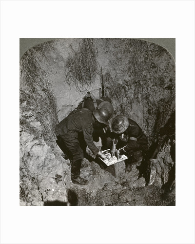 Captured German prisoner giving information to his captors, World War I by Realistic Travels Publishers