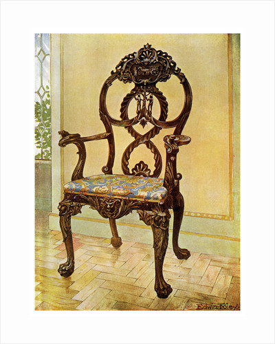 Carved early Chippendale chairman's chair by Edwin Foley