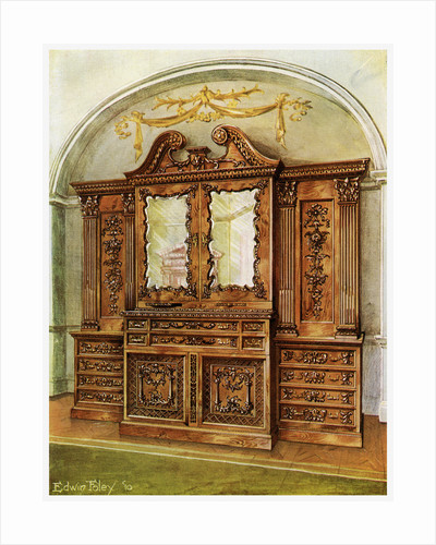 Carved enclosed mahogany bookcase, style of Chippendale, French influence by Edwin Foley