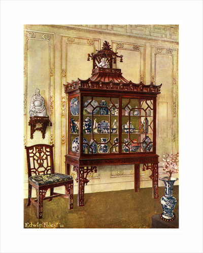 Carved china case in Chippendale's Chinese manner by Edwin Foley