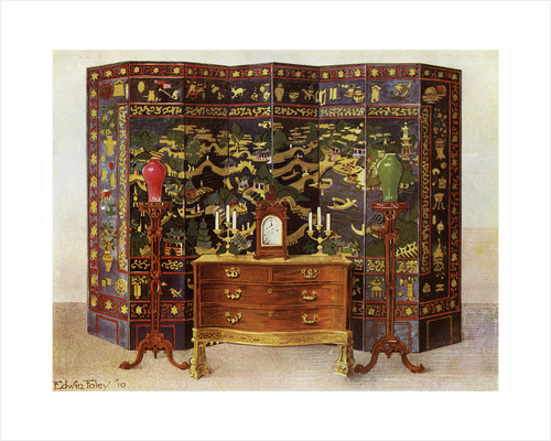Curved commode table and Chinese lacquered eight fold screen by Edwin Foley