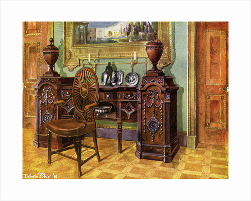 Carved mahogany pedestal sideboard and oval wheelback master's chair by Edwin Foley