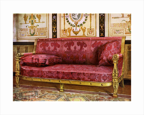 Carved gilt couch covered in rose Brocade de Lyon by Edwin Foley