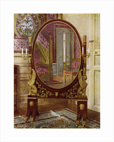 Oval mirror and bed of Napoleon I by Edwin Foley