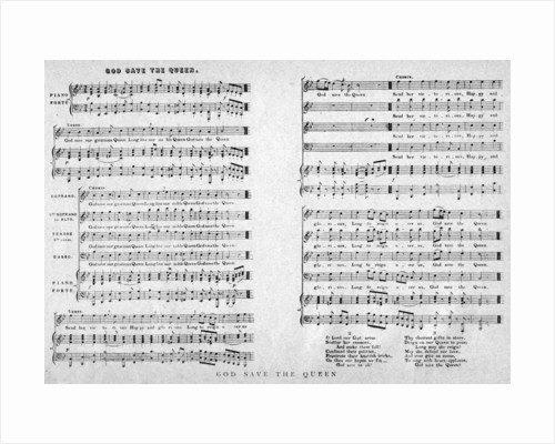 'God Save the Queen', sheet music by Anonymous
