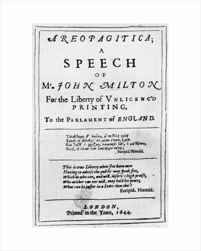 Freedom of the press: title page from the Areopagitica by John Milton by Anonymous