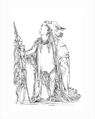 'He Who Ties His Hair Before', Native American Male of the Minataree tribe by Myers and Co