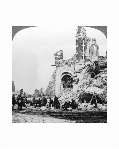 German prisoners of war beside the ruins of the basilica of Albert, France, World War I by Realistic Travels Publishers