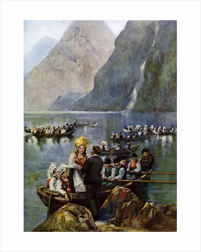 A wedding procession on boats, Norway by Anonymous