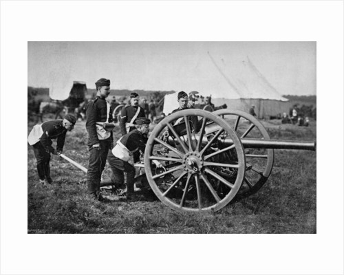 Gunners of field artillery drilling with a 12 pounder by Gregory & Co