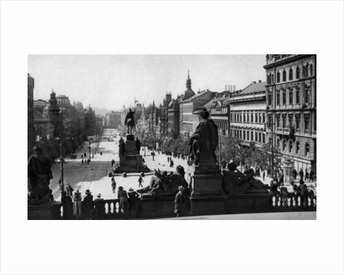 Wenceslas Square and statue of St Wenceslas, Prague, Czechoslovakia by D Heathcote