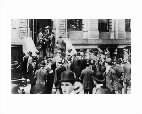 Anxious crowds outside the White Star Line office by Sport & General