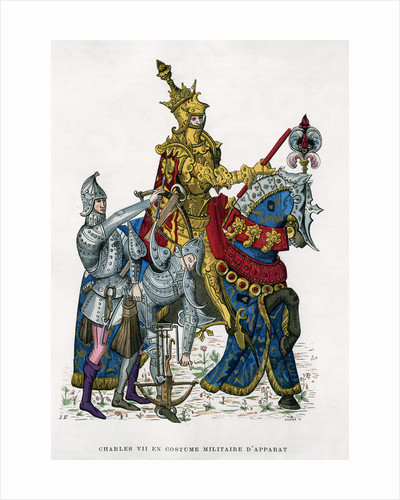 Charles VII, King of France, on horseback in full armour by Gautier