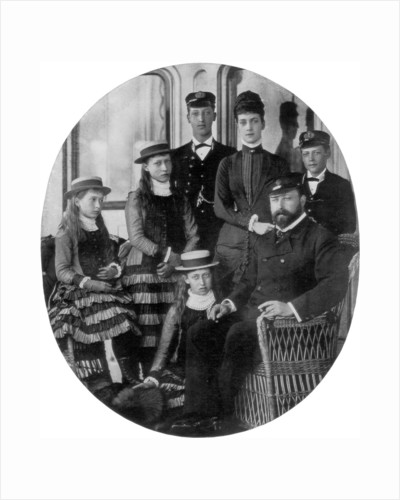 The Prince and Princess of Wales with their family on board the royal yacht by Anonymous