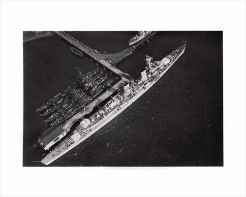 Aerial view of the German light cruiser 'Karlsruhe', from a Zeppelin by Anonymous