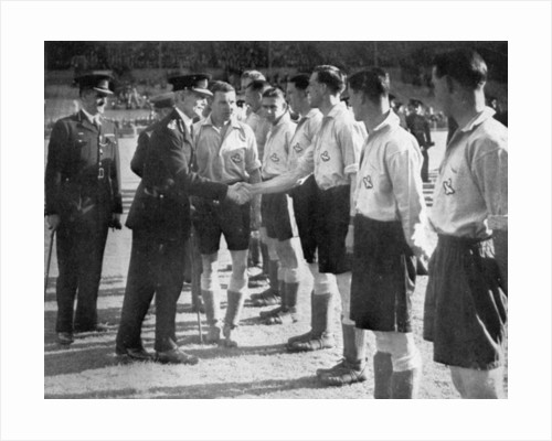 Introductions before a RAF vs Metropolitan Police football match, Wembley, London by Anonymous
