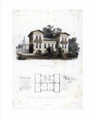 Design for a country house in Moabit, near Berlin, Germany by Anst von W Loeillot