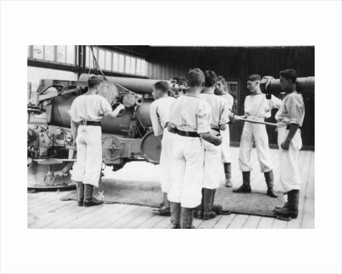 6-inch gun drill, Royal Navy training establishment, Shotley, Suffolk by Anonymous