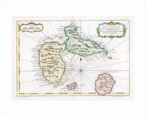 Map of the Caribbean island of Guadeloupe by Anonymous