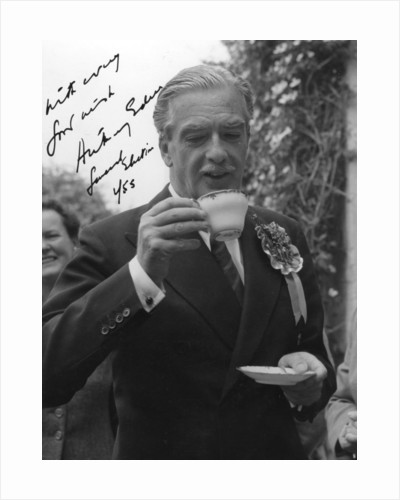 Anthony Eden, British Conservative politician, drinking a cup of tea by Anonymous