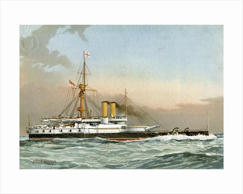 HMS Victoria, Royal Navy 1st class battleship by William Frederick Mitchell