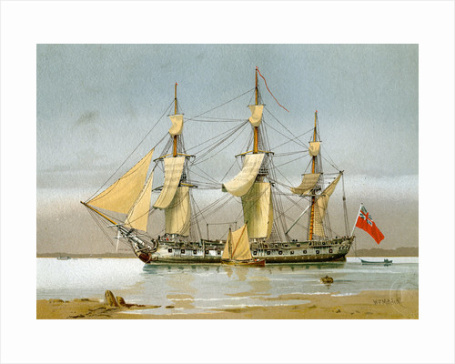 A Royal Navy 42 gun frigate by William Frederick Mitchell