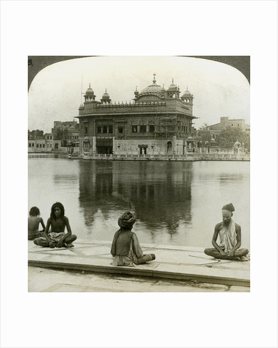 Fakirs at Amritsar, looking south across the Sacred Tank to the Golden Temple, India by Underwood & Underwood