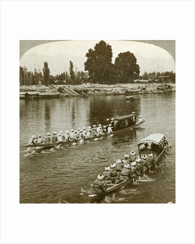 Lady Curzxon travelling on the state barge of the Maharaja, Kashmir, India by Underwood & Underwood