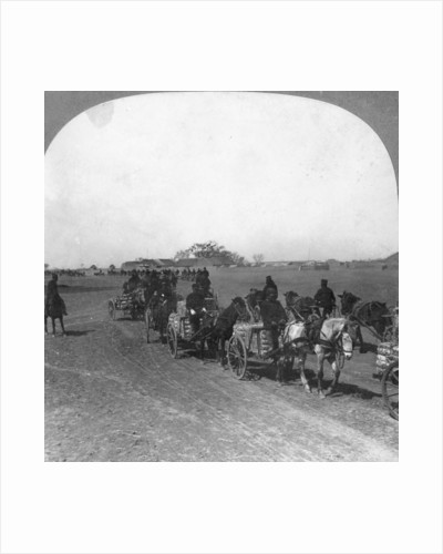 Japanese military transportation train, Manchuria by Keystone View Company