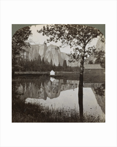 Mirror view of Cathedral Rocks, Yosemite Valley, California, USA by Underwood & Underwood