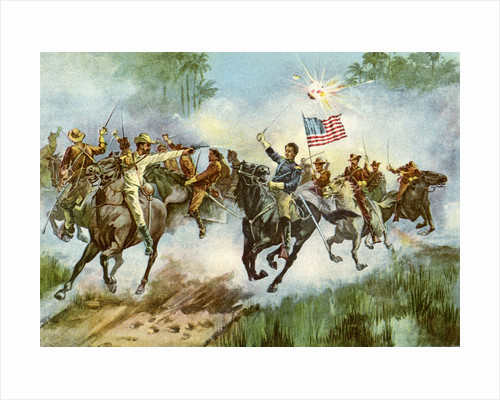 Rough Riders stampeding a Spanish outpost, Cuba, Spanish-American War by Anonymous