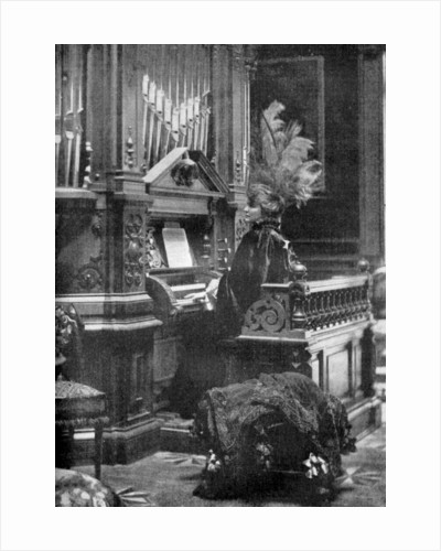 The Queen of Romania playing the organ by Anonymous