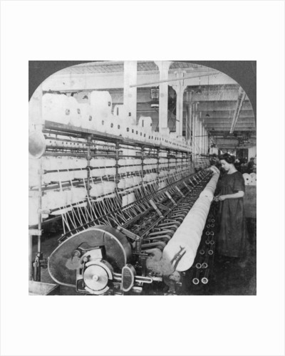 Doubling frame in a large woollen mill, Lawrence, Massachusetts, USA by Keystone View Company