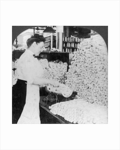 Weighing and sorting raw silk skeins, South Manchester, Connecticut, USA by Keystone View Company