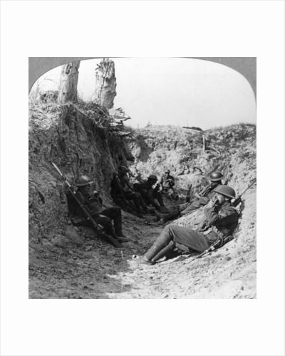 Troops waiting in a trench near Arras, France, World War I by Realistic Travels Publishers