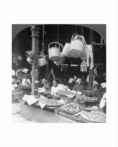 Shops in a native market, Rangoon, Burma by Stereo Travel Co